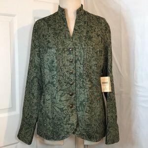 NWT Coldwater Creek Green Tweed woman's jacket 14